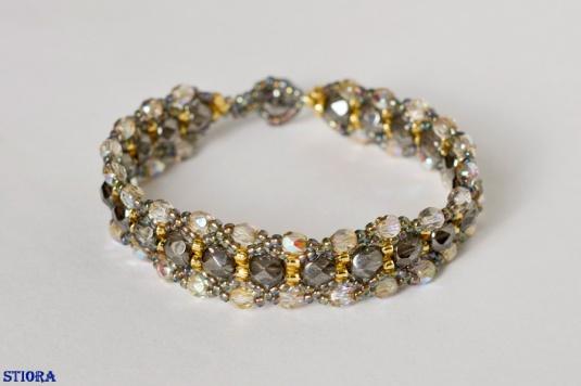 STIORA - bratara din fire polished beads de 8 si 4 mm, margele Toho de 8 si 11 - vandut - se poate reface si in alte combinatii de culori